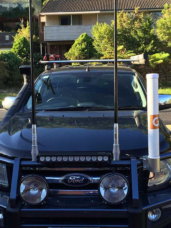 The G Spotter 69er Bullbar Mounted & ready to go. Fast 4GX internet on the Road.