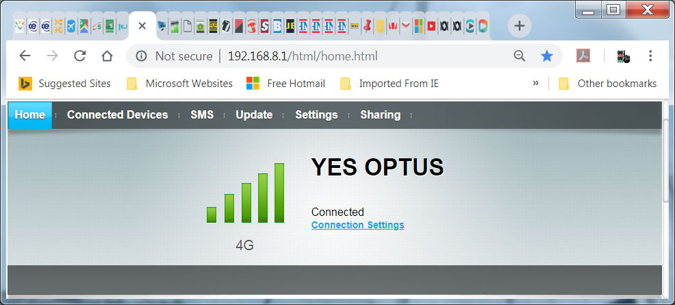 Optus 4G internet signal increase with G Spotter Antenna