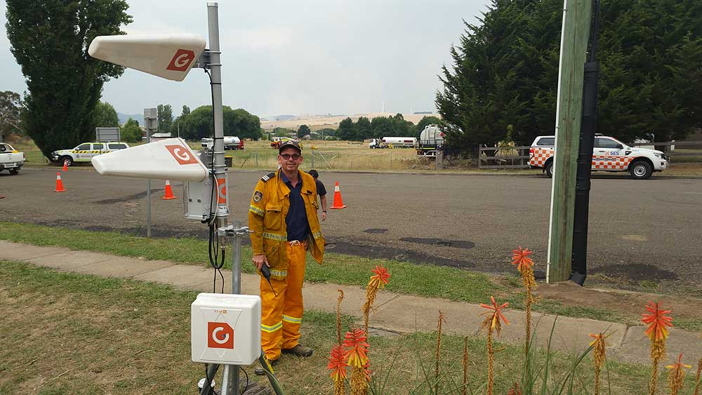 Dave Edworthy deploying Portable WiFi for the NSW Rural Fire Service